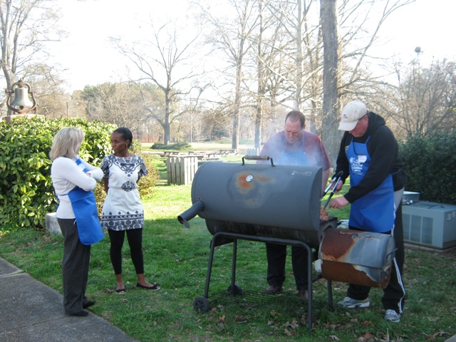 Simpsonwood UMC Agape Meal volunteers grilling