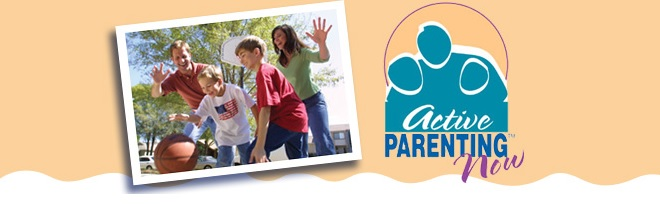 Family Playing Basketball and Active Parenting Logo